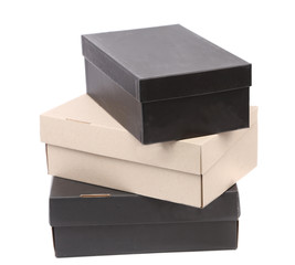 Stack of shoes boxes.
