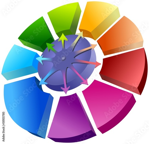 Spatial colorful circle graph with arrows above