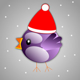Violet bird with santa claus hat on grey background