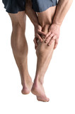 Calf pain. Leg calf sport muscle injury