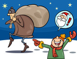 thief on christmas cartoon illustration
