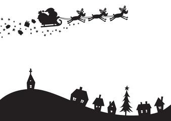 クリスマス 風景シルエット
