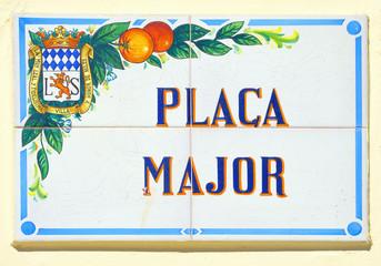 Traditional ceramic street plaque in Nules