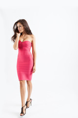 woman with pink dress