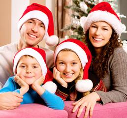 Christmas Big Family with Kids near The Christmas Tree