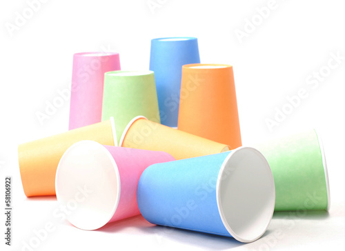 stack of colorful recycling paper glass on white background