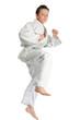 Jumping karate boy
