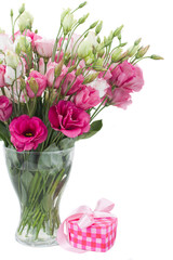 Pink eustoma flowers with  gift  box