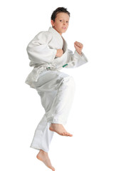 Jumping karate boy