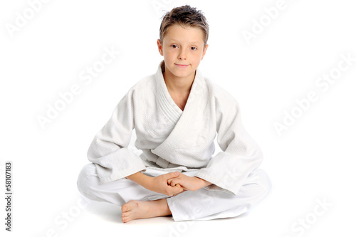 Relaxing karate boy