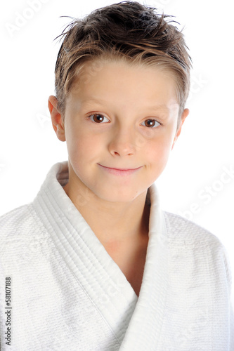 Smiling karate boy