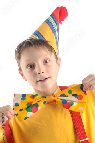 Astonished clown kid