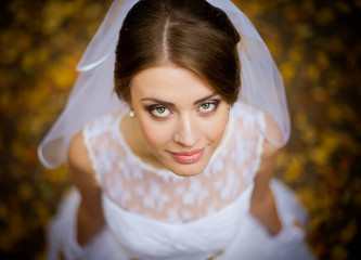 Beautiful portrait of the bride on the wedding day