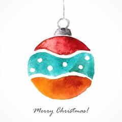 Christmas ball. Christmas decoration. Festive christmas card.