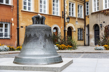 Old bell in the square, the old town in Warsaw