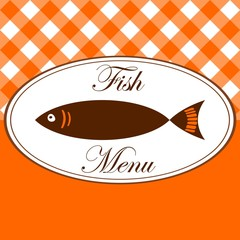 Vintage fish menu card for restaurant, vector illustration