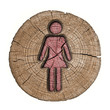 toilets WC sign for women (wooden background)