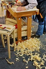 Professional carpenter makes furniture