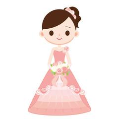 結婚式 お色直し ピンクのドレス