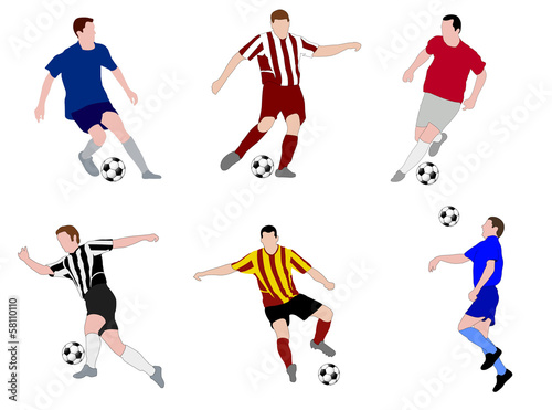 soccer players illustration - vector