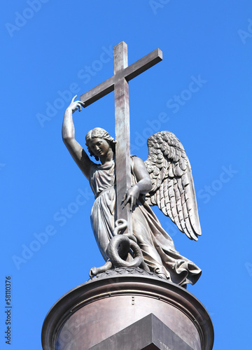 angel statue on top of Alexander Column - St. Petersburg