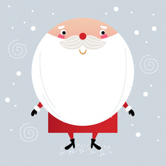Cute Santa in red costume on snowing background