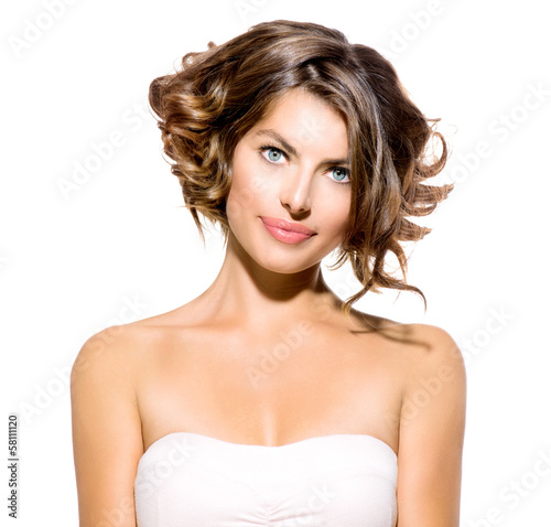 Beauty Young Woman Portrait Isolated over White Background © Subbotina Anna