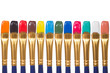 Set of paintbrushes with color paints