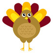 Cute retro thanksgiving turkey isolated on white