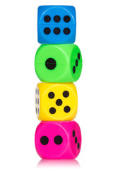Stack of colorful dice