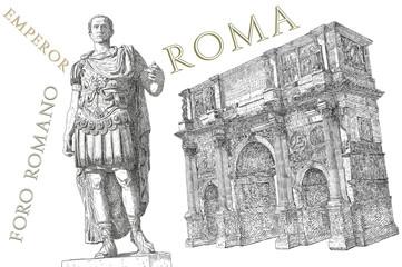Roman emperor Augustus Caesar statue. Rome