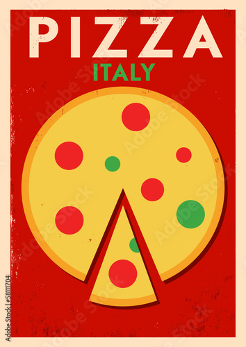 Vintage Pizza Design Poster