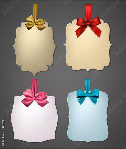 Paper gift cards with color satin bows.
