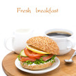 breakfast - burger with salmon, vegetables and coffee