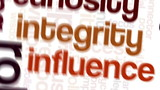 Tag cloud containing words related to leadership and business