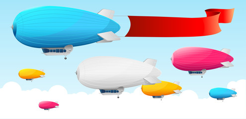 Retro dirigible and flags background.