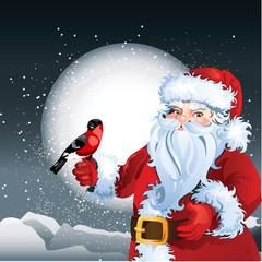 Santa Claus on snowy background