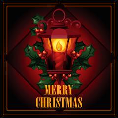 Christmas illustration of antique street lantern