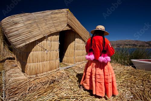 Leinwandbild Motiv Uros floating islands - Titikaka Lake