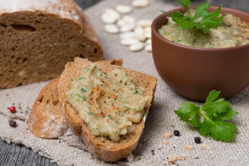 rustic bread with bean pate