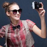 trendy girl posing during a taking selfie poster