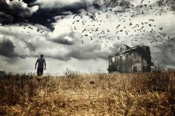 Man walking  in a spooky scenery