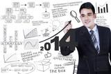 Businessman writing a business concept