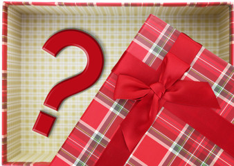 Top of present box with question mark