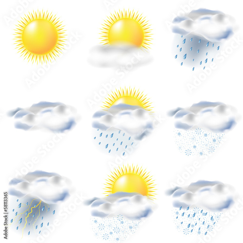 weather icons: sun, rain, snow, storm