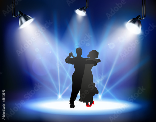 Dancing ballroom dance man and woman on the stage