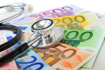 European currency sick concept: stethoscope on euro banknotes
