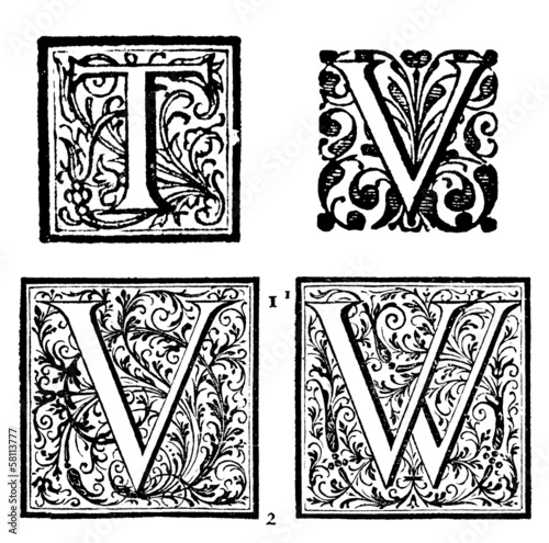 Initials - Ornamental Capitals - from an antique bible - T, V, W