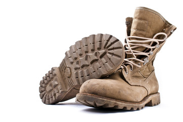 Army boots on white background