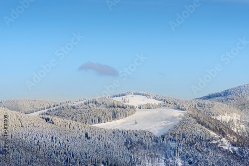 Winter Landscape With Snowy Mountains